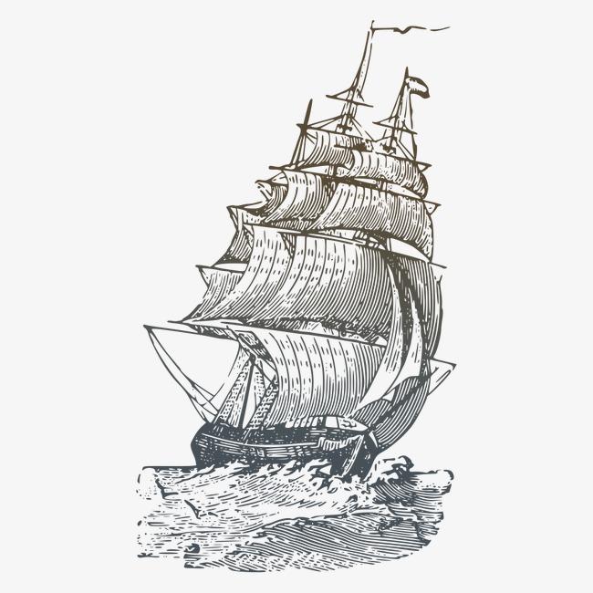 帆船图片大全手绘