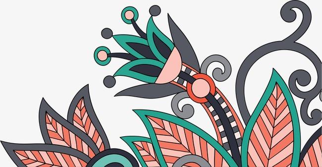 红色复古花纹(图片编号:15405725)