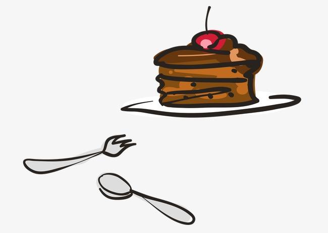 勺子叉子彩绘素材剪影分层