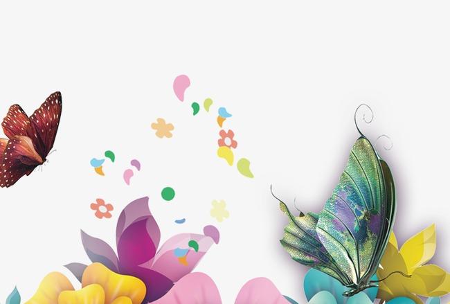 矢量花朵蝴蝶