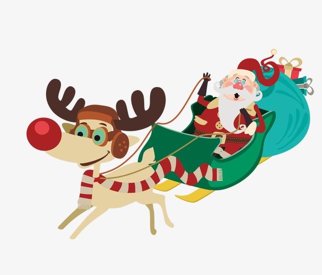卡通手绘可爱圣诞老人雪天送礼