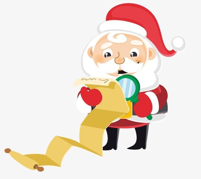 卡通圣诞老人看清单图片