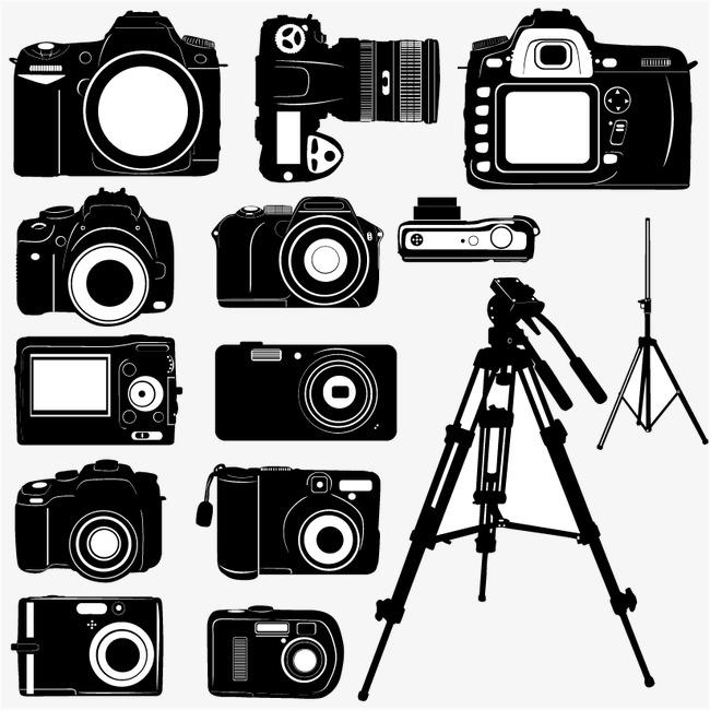 黑白数码相机剪影矢量素材