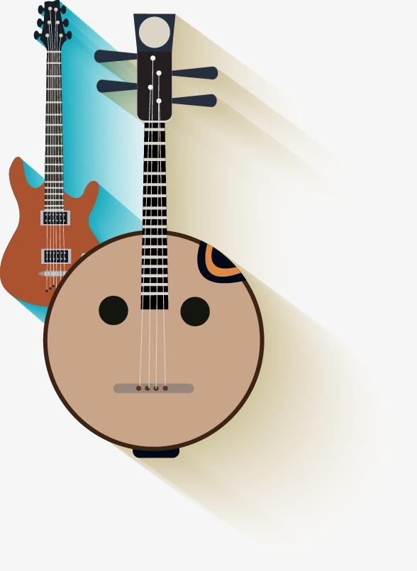 手绘简约吉他图案
