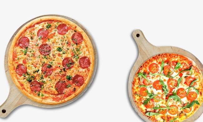 披萨手绘海报背景纯色