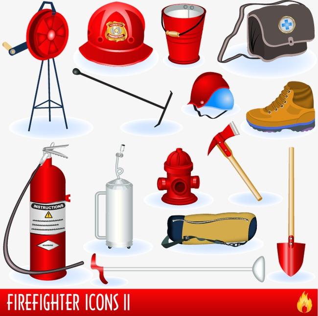 消防队员与消防器材矢量素材