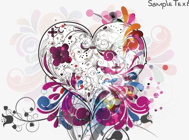 花卉心形矢量图