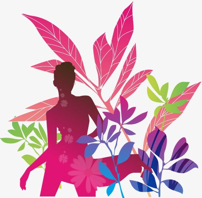 彩色叶子人物图案