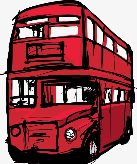 红色手绘公交车图案