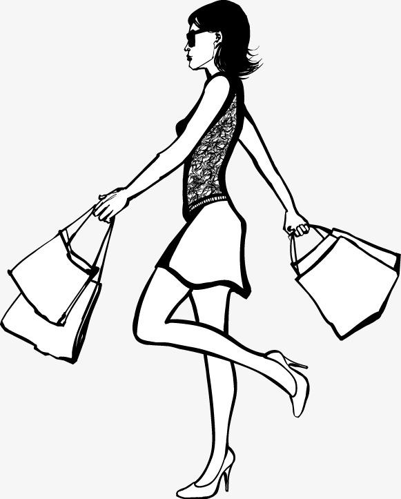 手绘购物女郎图案(图片编号:15398135)_装饰图案_我