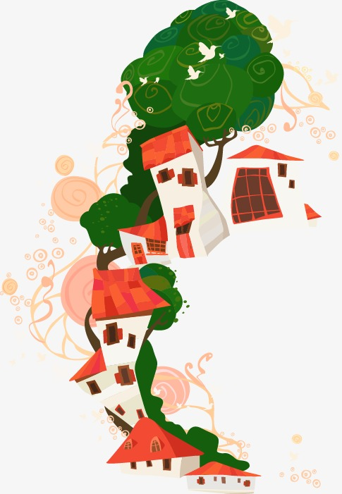 抽象彩色房子小树图案