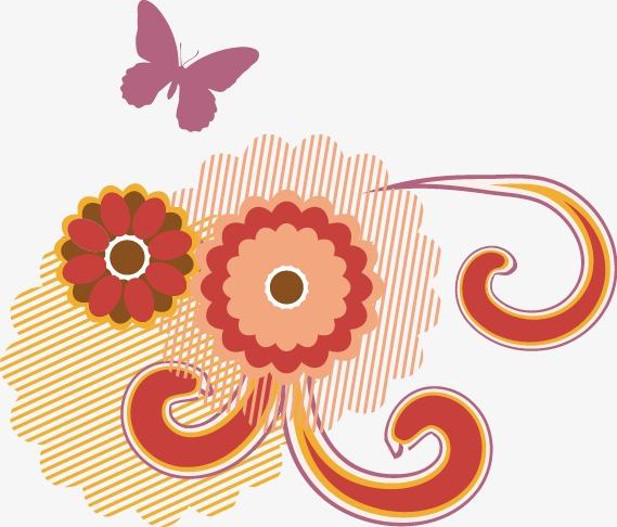 手绘彩色花朵蝴蝶图案