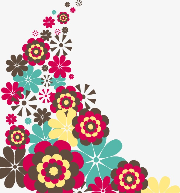 手绘彩色花朵图案