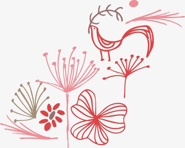 手绘简约花朵小鸟图案
