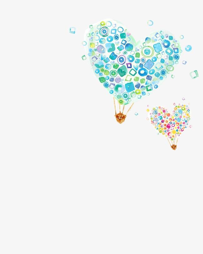 手绘心形热气球