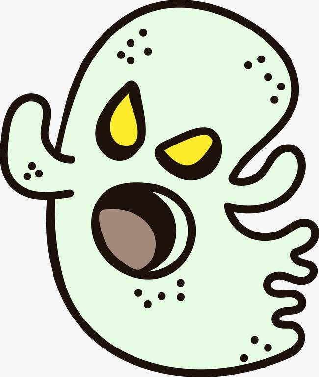 卡通幽灵万圣节标签矢量图素材图片