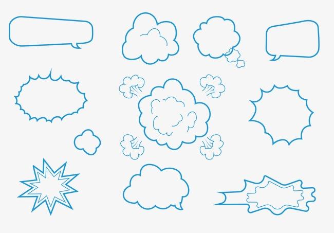 手绘云朵对话框矢量元素