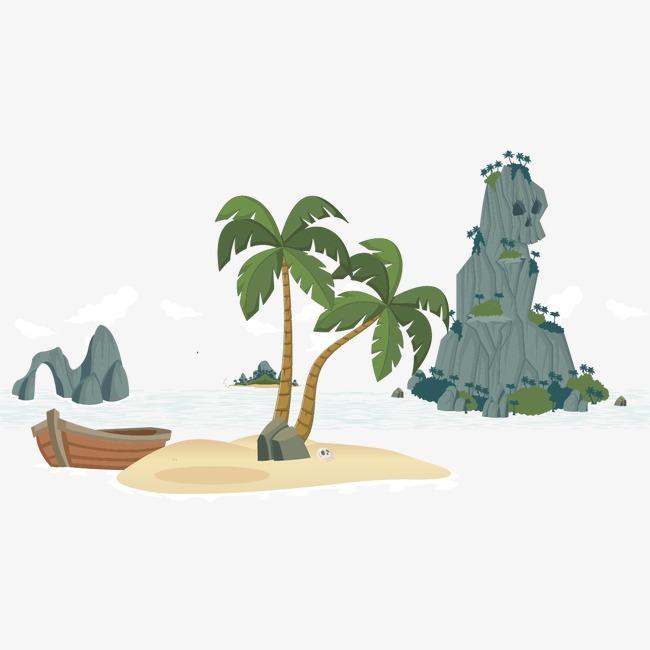 椰子树和船