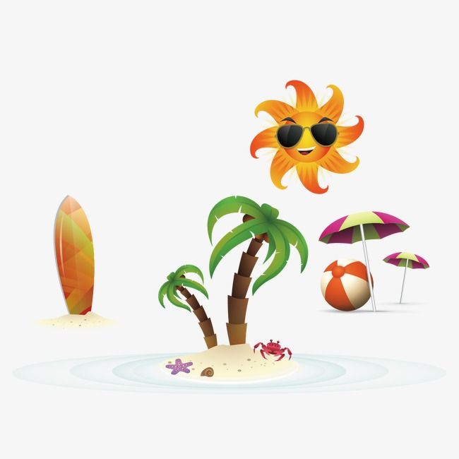 椰子树伞和太阳