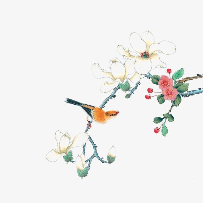 工笔画中国风海棠花             此素材是90设计网官方设计出品,均