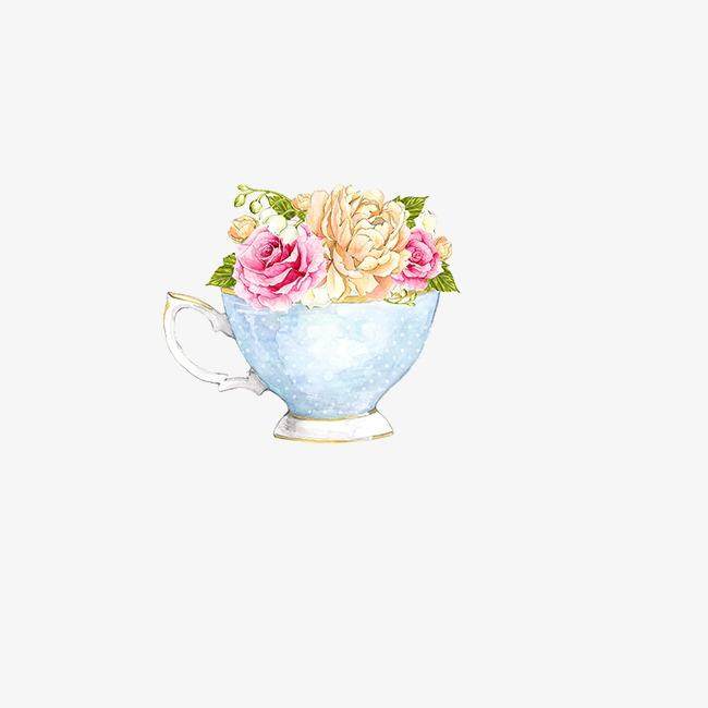 玫瑰茶壶下午茶唯美手绘