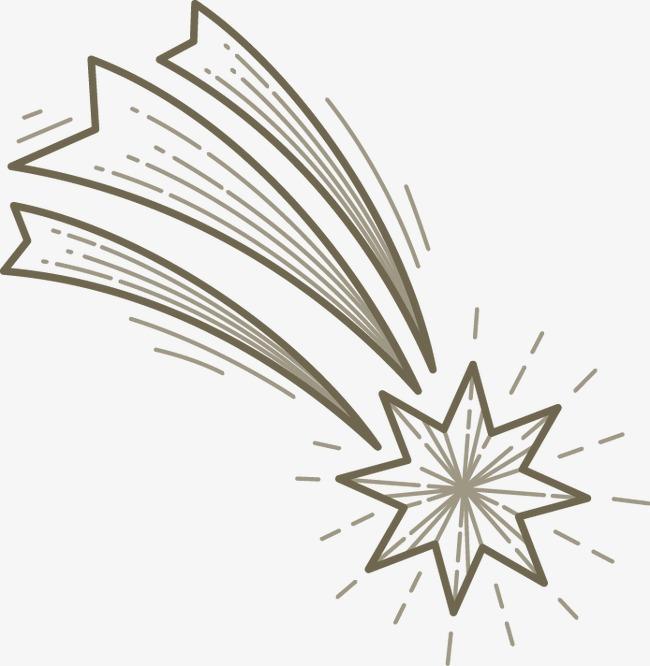 手绘素描流星发光图案
