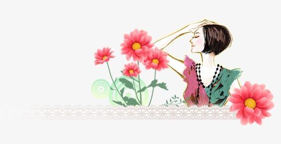 手绘插画女性【高清效果元素png素材】-90设计