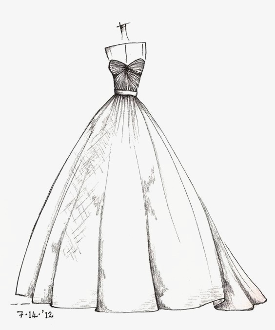 手绘裙子铅笔画婚纱