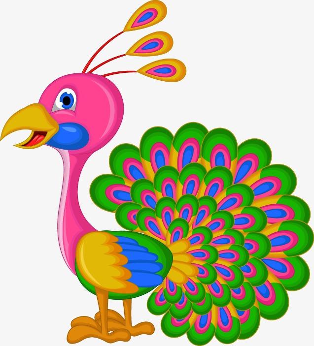 手绘彩色孔雀开屏图案