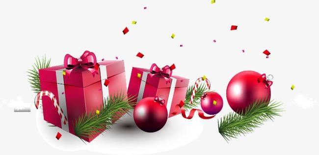 手绘红色礼盒圣诞球元素