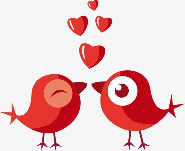 卡通手绘红色爱情鸟