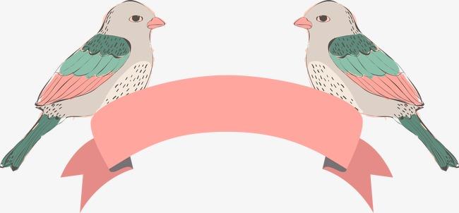 卡通手绘爱情鸟