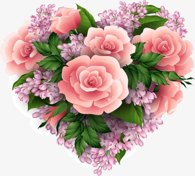 手绘粉红爱心玫瑰花