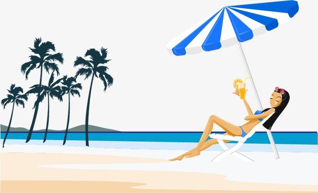 海边沙滩休闲卡通人物【高清装饰元素png素材】-90设计图片