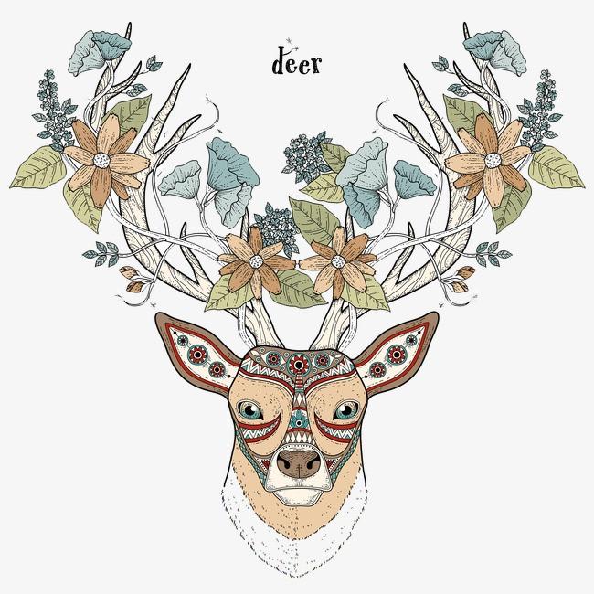 森林系手绘梅花鹿