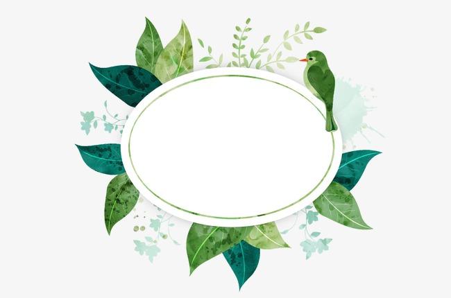卡通树叶鸟椭圆对话框