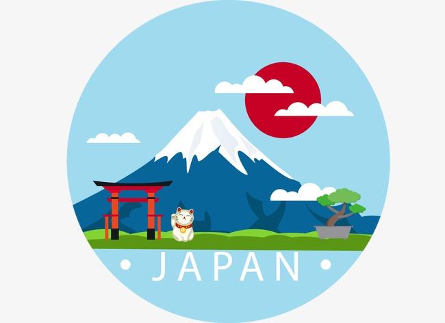 创意插画富士山【高清装饰元素png素材】-90设计图片