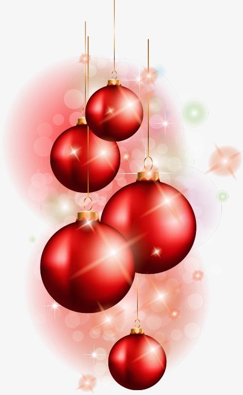 手绘红色梦幻气泡圣诞球
