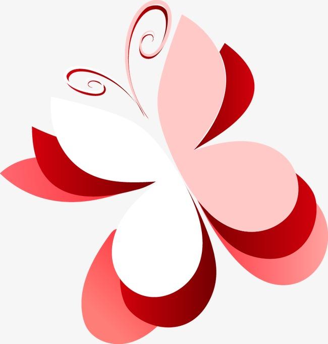手绘粉色剪纸蝴蝶图案