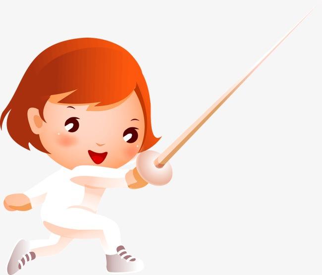 女娃娃 卡通女孩小女孩 萌娃 击剑 击剑服 练习击剑 击剑初学班 开心图片