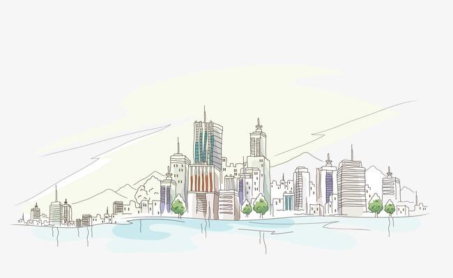 水彩手绘线描风景画素材图片免费下载 高清装饰图案png 千库网 图片