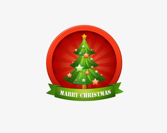 红色圣诞树图章png素材-90设计