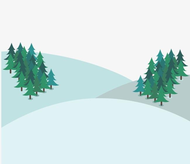 蓝色 卡通 风景 松树 冬季             此素材是90设计网官方设计图片