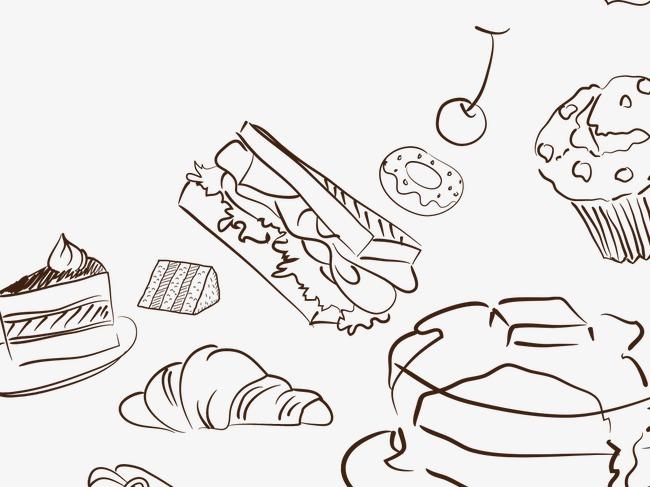 可爱手绘简笔蛋糕甜品面包