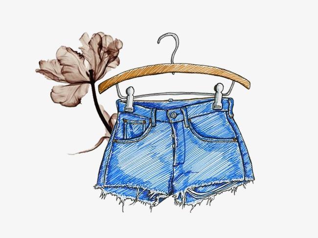 手绘插画手绘插画牛仔裤子衣架-手绘插画素材图片免费下载 高清效果