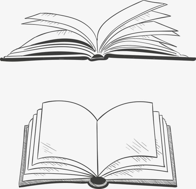 矢量翻开的书本线稿图片