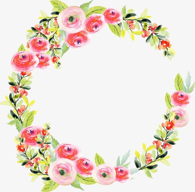 水彩手绘花环