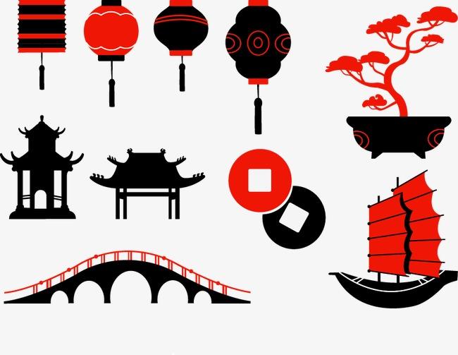 手绘灯笼亭子大桥龙舟素材图片免费下载 高清装饰图案psd 千库网 图