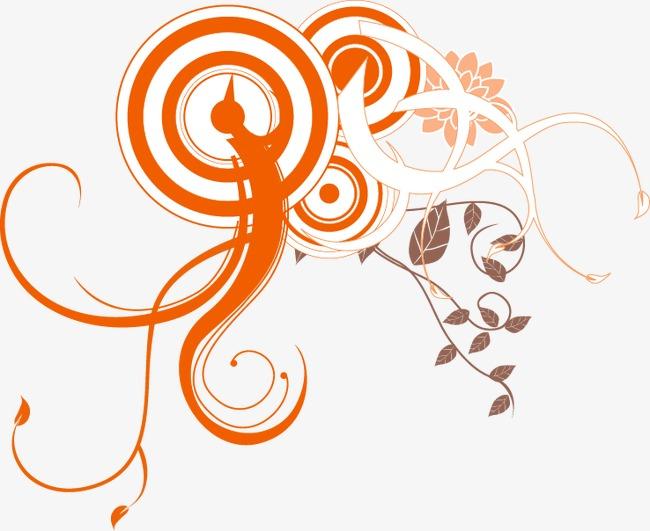 手绘圆圈花藤图案