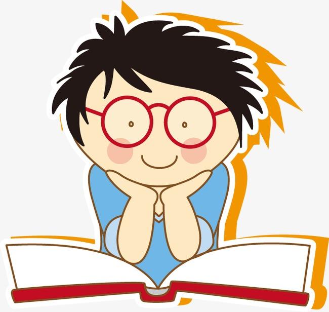 手绘眼镜男孩看书图案